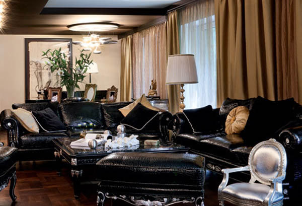 modern interior decorating silver orange dark room colors