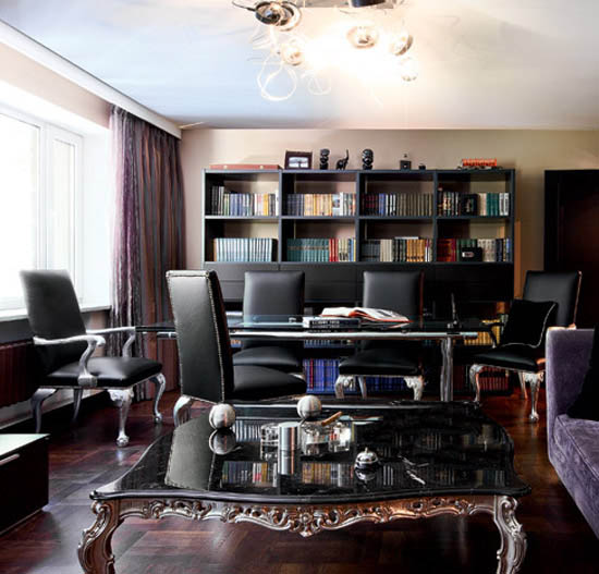 deep purple and dark brown colors for living room design