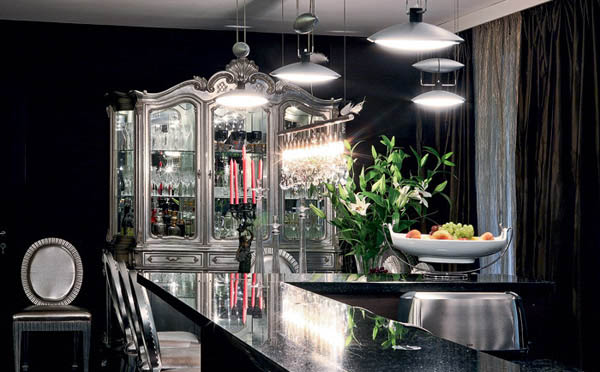 silver and dark room colors for modern kitchen design