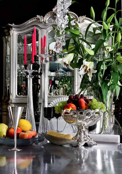 silver home decorations in classic style