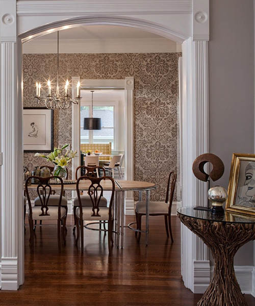 eclectic decor in white and brown colors