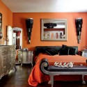 bedroom decorating with orange wall paint