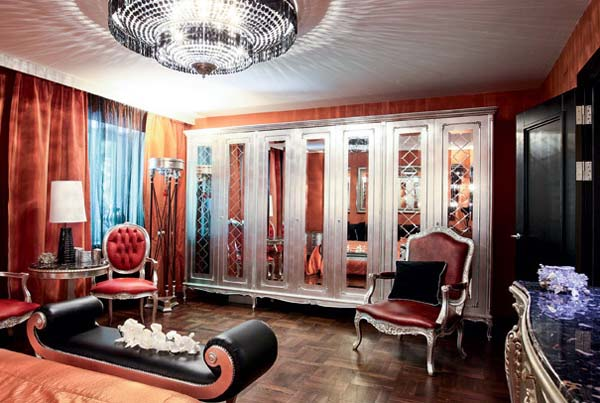 silver furniture and orange wall paint color