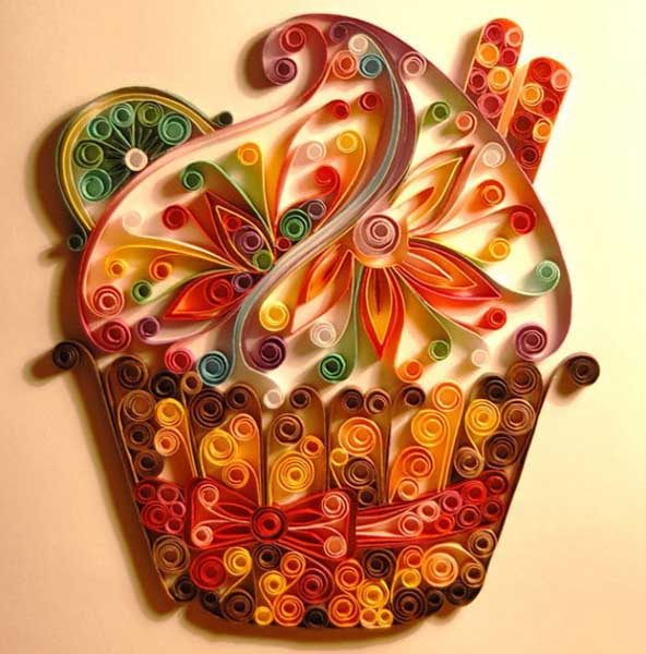 quilled basket with flowers