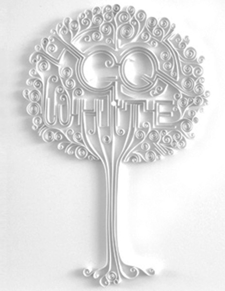 quilled tree made of white paper