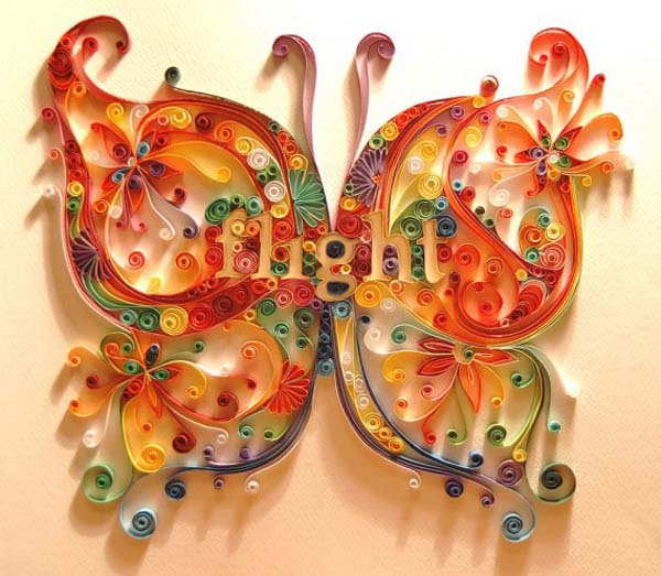 quilled butterfly made of colorful paper
