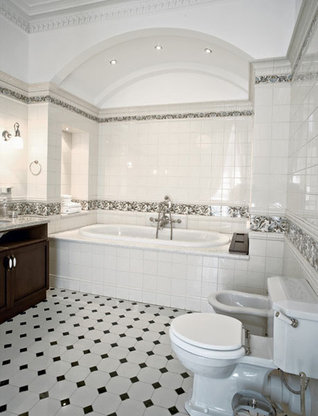 bathroom decorating with white and black floor tiles