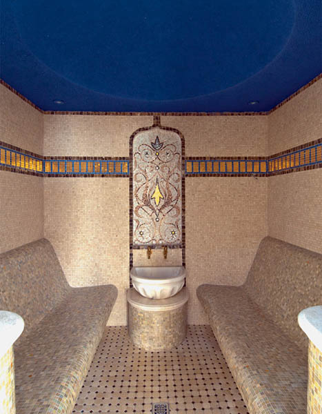 hamam with blue ceiling and unique mosaic tile designs