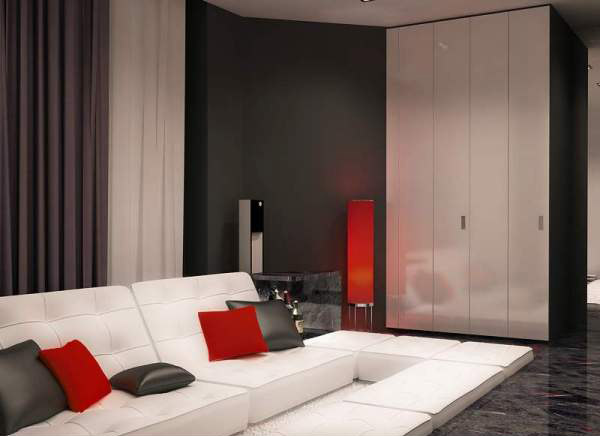 Black and White Interior Decorating with Red Accents from Flatt Studio