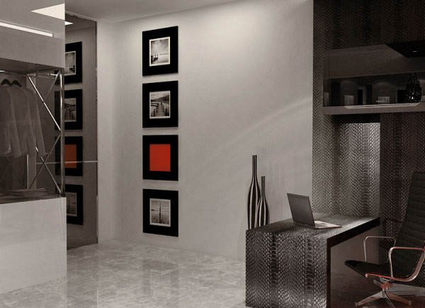 Black And White Interior Decorating With Red Accents From