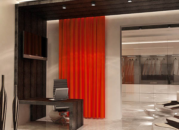 red curtain for contemporary interior decorating in black and white colors