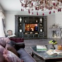 modern living room design with red murano glass chandelier
