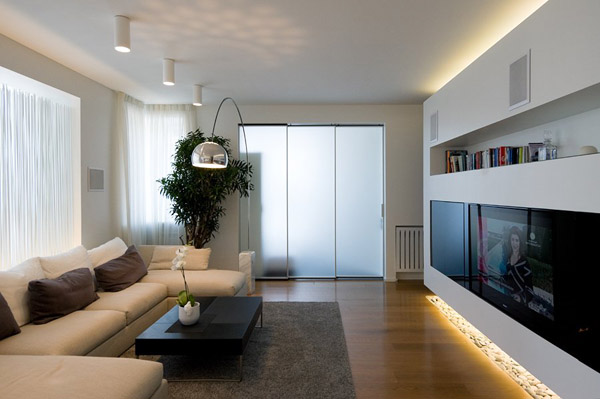 Living Room With Arc Floor Lamp