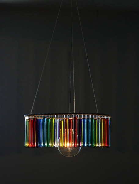 glass chandelier with colored water in tubes