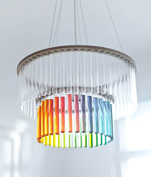 unique home lighting fixture made with glass tubes