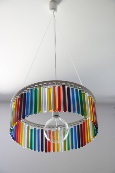 glass chandelier with test tubes filled with colored water