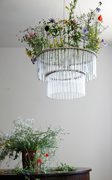 glass chandelier in art deco style