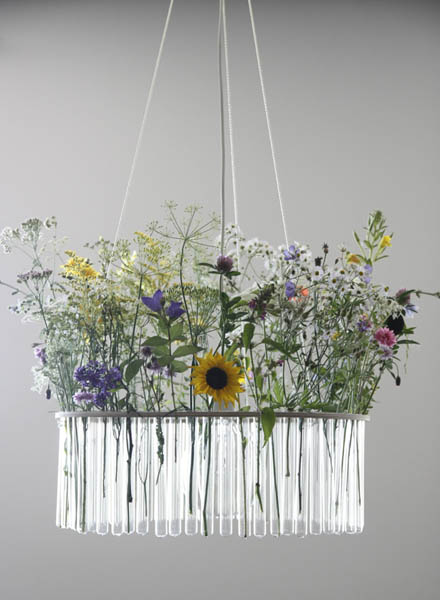 glass tube chandelier with flowers