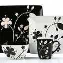 black and white decor pillows and tableware