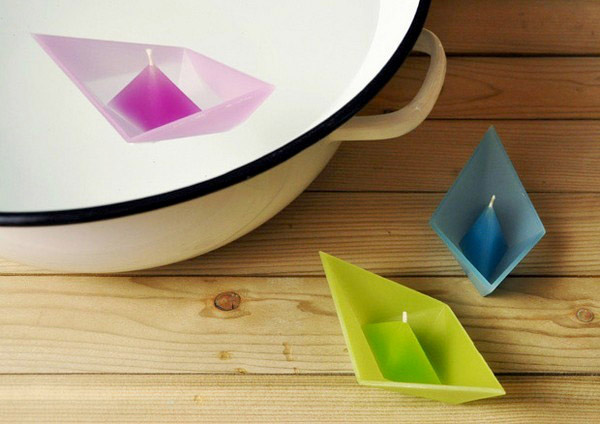 floating candles shaped like paper boats
