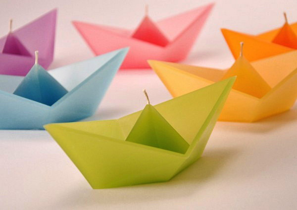 boat shaped candles in bright colors