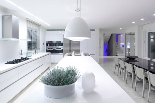 white kitchen lighting and furniture