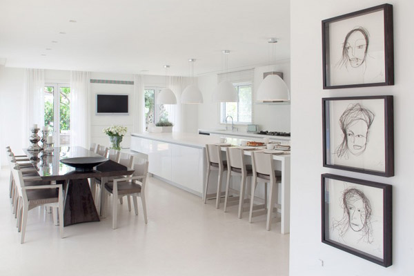 white and black kitchen and dining room decorating