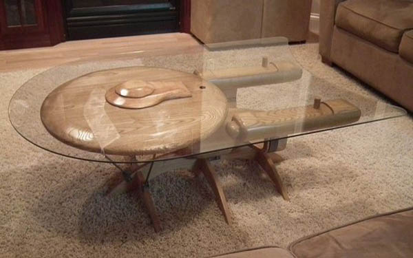 coffee table inspired by star trek spaceship