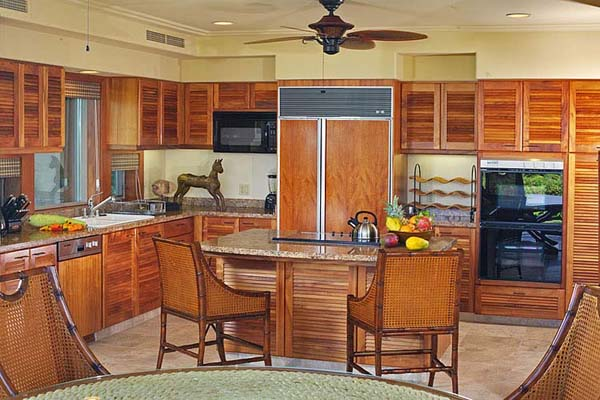 wood kitchen cabinets and dining furniture