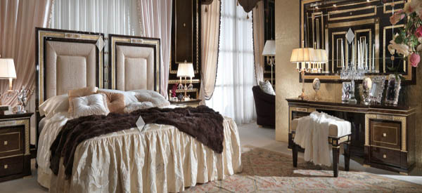 modern bedroom design in rococo classic style