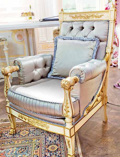 blue chair for living room decorated with satin fabric