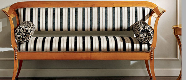 biedermaer sofa with striped upholstery fabric
