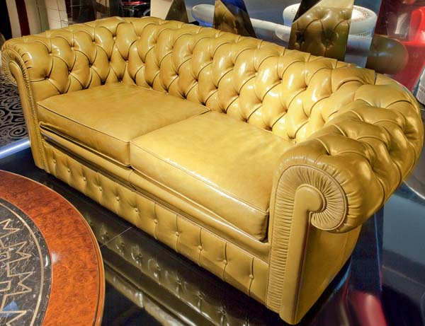 lancaster sofa made of yellow leather from mascheroni
