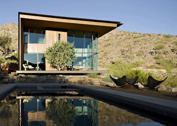 contemporary home with steel pool