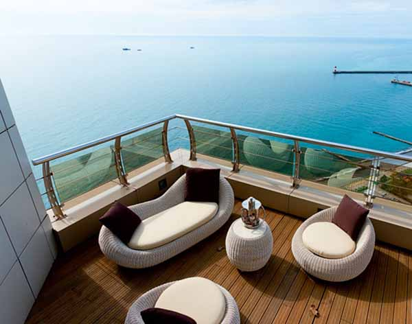 outdoor furniture on teak wood deck