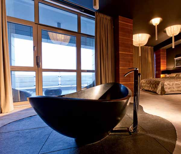 contemporary bathtub in bedroom