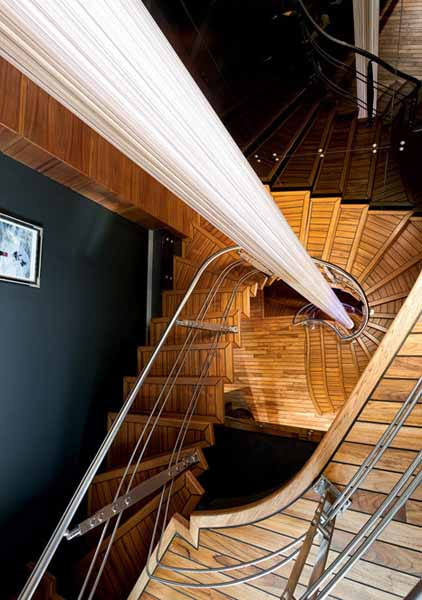 Wood Staircase Decorated With White Sail Fabric