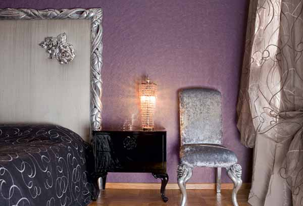 silver furniture and purple wall in bedroom