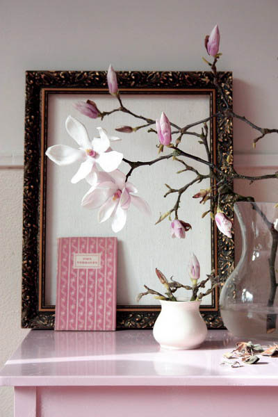 magnolia branches with pink flowers for home decorating