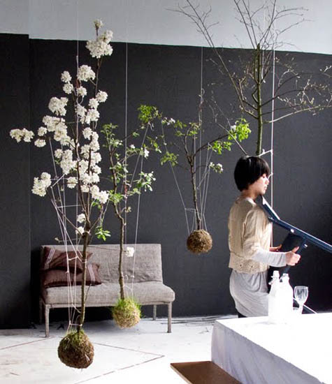 creative decorating with flowering branches