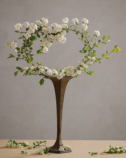 hert decoration made of flowering branches