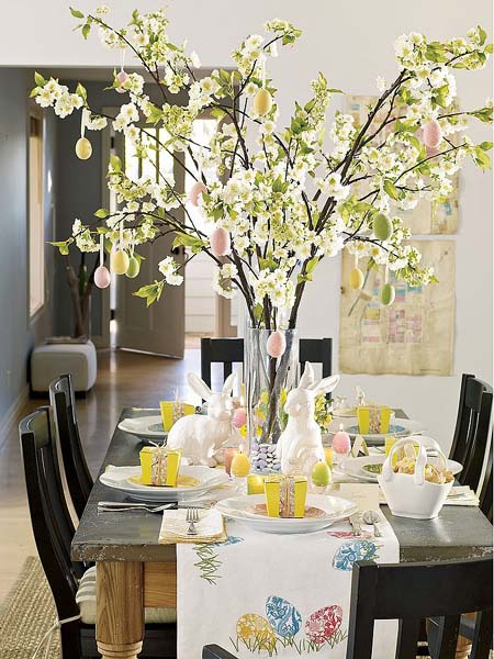 easter home decorating with flowering branches