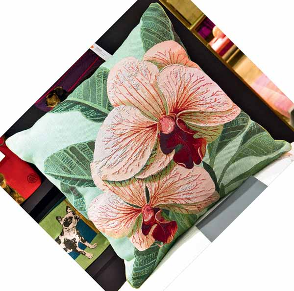 decorative pillow with floral pattern