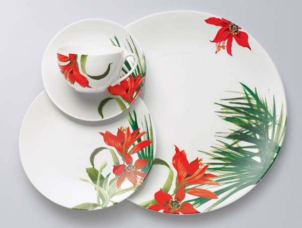 white tableware set with red flowers