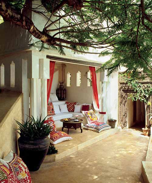 outdoor rooms decorated in white and red