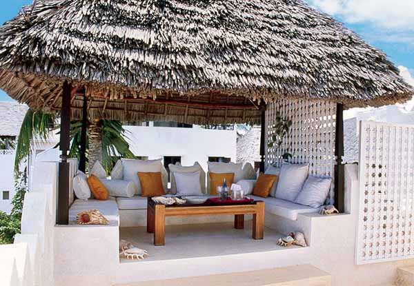 backyard ideas, african furniture with white cushions