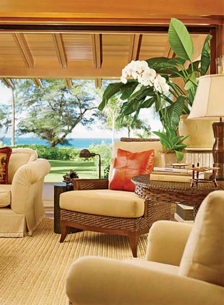 Decorative Pillows And Throws, Window Curtains And Napkins In Matching  Colors Highlight Your Hawaiian Themed Home Decor, Creating A Sense Of  Balance.