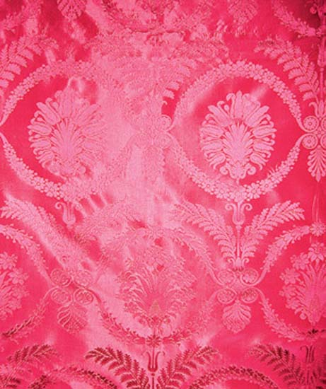pink wallpaper and art nouveau furniture upholstery faric