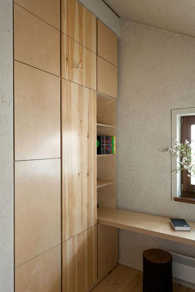 wood closet and shelves