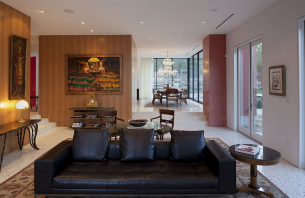 contemporary living room design with wood wall paneling